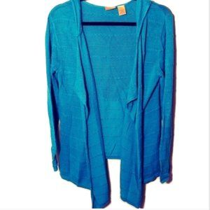 NorthCrest Classic Hoodie Cardigan Teal Sweater